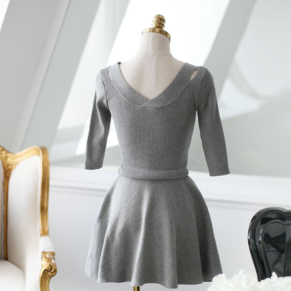 V-neck knit nine points sleeve dress - AddOneClothing - 25