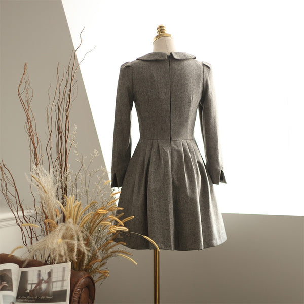 Japanese Style - woolen pleated A-line dress - AddOneClothing - 10