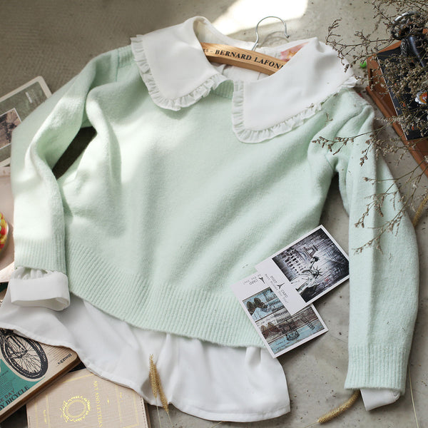 Korean fashion(&Japanese) green loose wild knit top - AddOneClothing