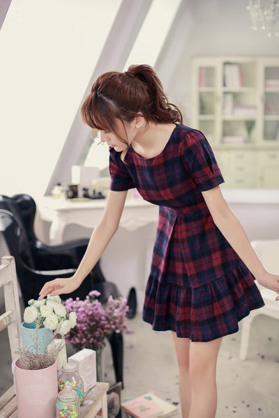 Asian Fashion - Round neck short sleeve Slim dress - AddOneClothing