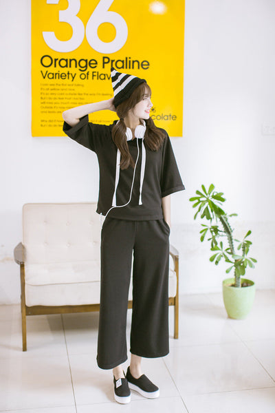 Korean style - black loose hoodie + pants suit - AddOneClothing - 2