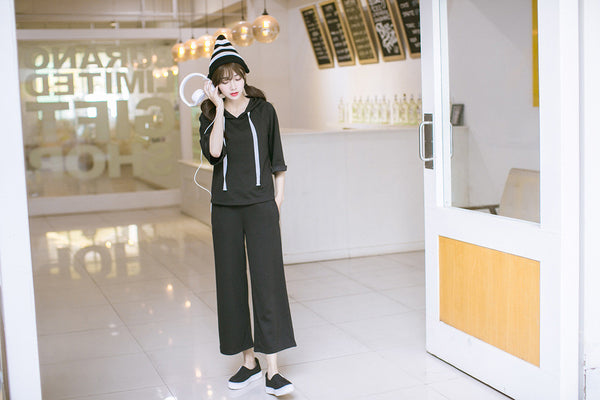 Korean style - black loose hoodie + pants suit - AddOneClothing - 3