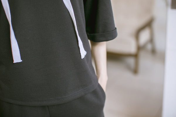 Korean style - black loose hoodie + pants suit - AddOneClothing - 5