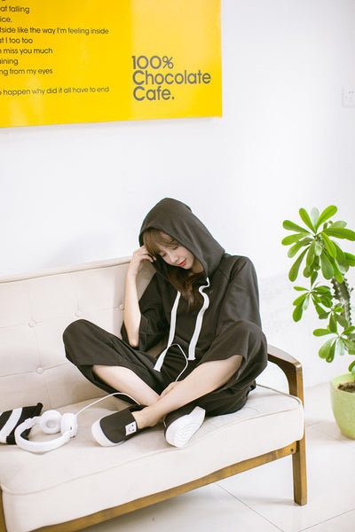 Korean style - black loose hoodie + pants suit - AddOneClothing - 1