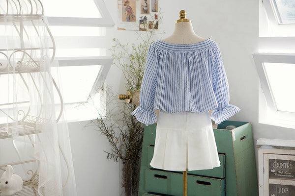 Korean fashion(&Japanese) two sides wear striped shirt - AddOneClothing