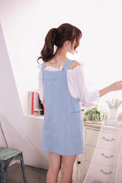 Korean fashion(&Japanese) -  Denim strap dress - AddOneClothing