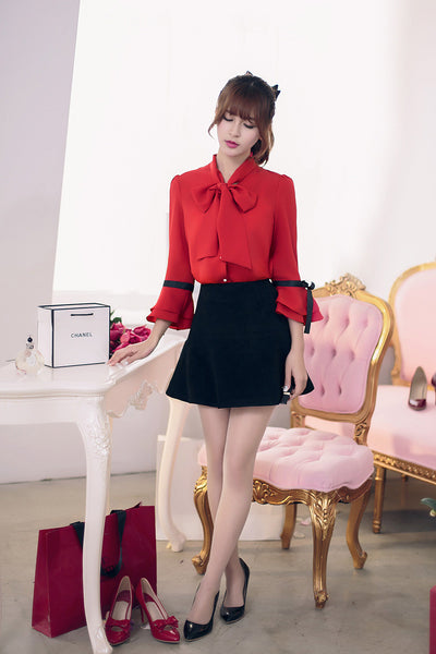 Japanese Fashion - Bow 7 points horn sleeve loose chiffon shirt - AddOneClothing - 6