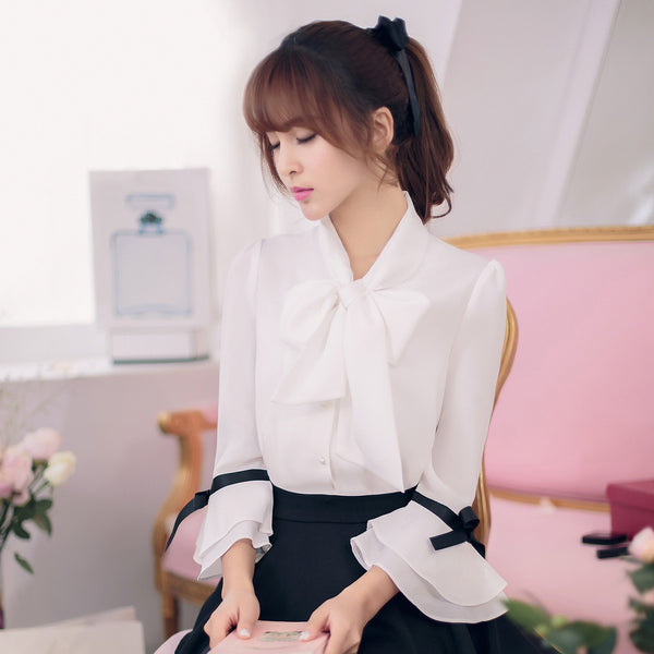 Korean fashion(&Japanese) - Bow 7 points horn sleeve loose chiffon shirt - AddOneClothing