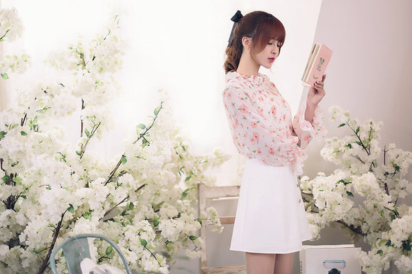 Japanese Fashion -  Little flowers chiffon long-sleeved shirt - AddOneClothing - 3