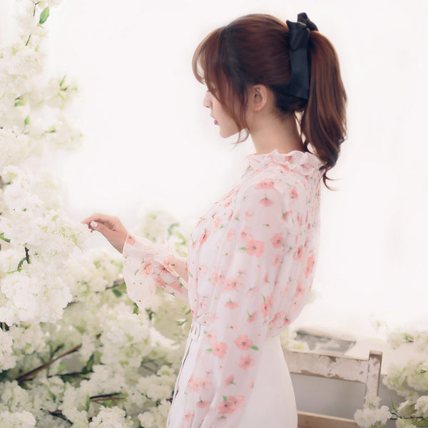 Japanese Fashion -  Little flowers chiffon long-sleeved shirt - AddOneClothing - 2