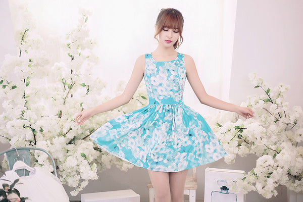 Japanese Fashion - Flower printed sleeveless dress - AddOneClothing - 2