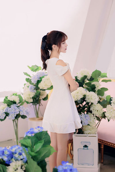 Korean fashion round neck strapless flounced short-sleeved dress - AddOneClothing - 4