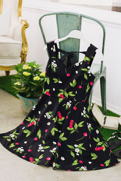 Korean fashion(&Japanese) sweet cherries flower print dress - AddOneClothing