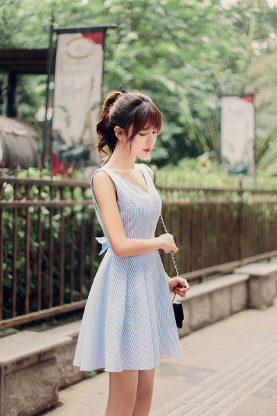 Japanese fashion V-neck halter waist A word  dress - AddOneClothing - 2