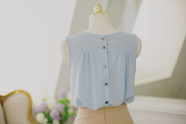 Korean fashion sweet bow spell color round neck chiffon shirt - AddOneClothing - 12