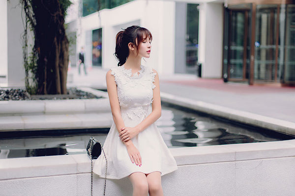 Japanese fashion round neck three-dimensional flowers A word dress - AddOneClothing - 5