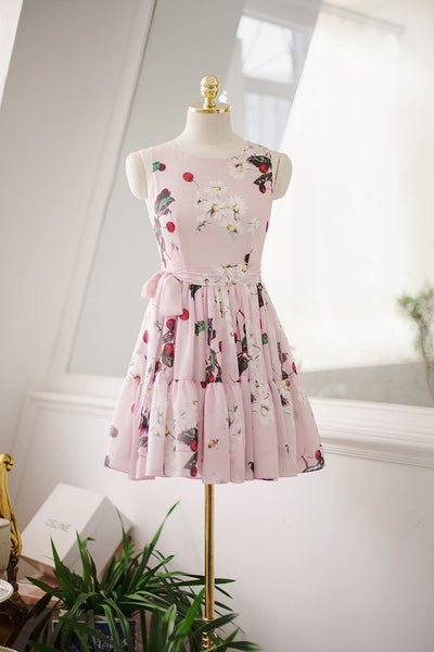 Japanese fashion cherry fruit printed pleated bow sling dress - AddOneClothing - 8