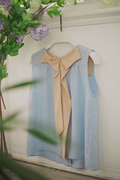 Korean fashion sweet bow spell color round neck chiffon shirt - AddOneClothing - 5