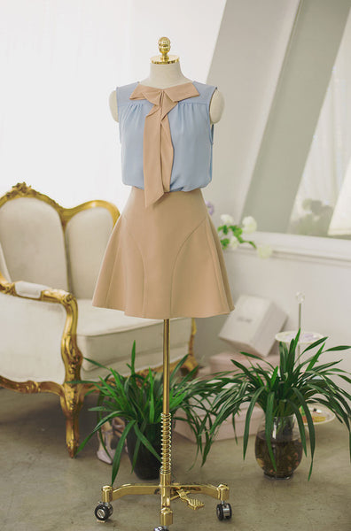 Korean fashion sweet bow spell color round neck chiffon shirt - AddOneClothing - 6