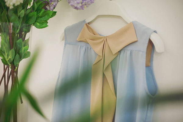Korean fashion sweet bow spell color round neck chiffon shirt - AddOneClothing - 11