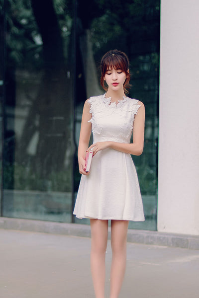 Korean fashion(&Japanese) round neck three-dimensional flowers A word dress - AddOneClothing
