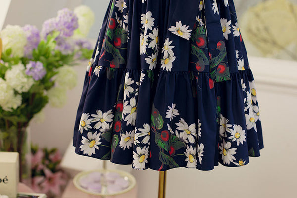 Japanese fashion cherry fruit printed pleated bow sling dress - AddOneClothing - 13