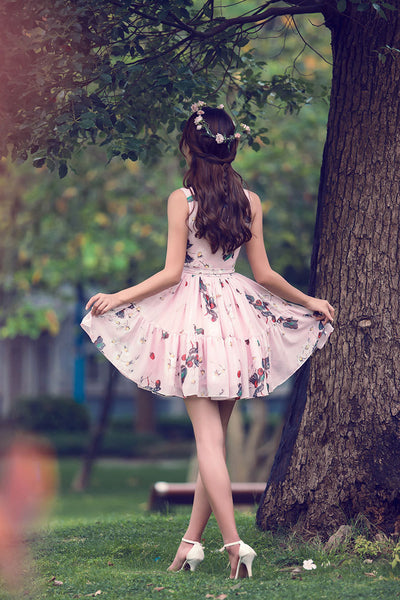 Korean fashion(&Japanese) cherry fruit printed pleated bow sling dress - AddOneClothing