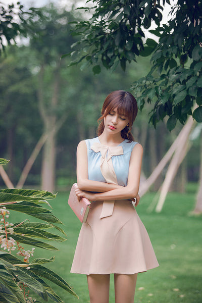 Korean fashion sweet bow spell color round neck chiffon shirt - AddOneClothing - 4