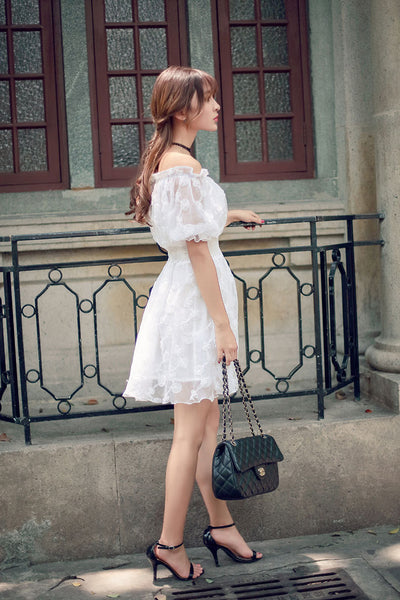 Korean fashion(&Japanese) white collar flowers elastic dress - AddOneClothing