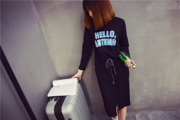 Street Fashion round neck long-sleeved T-shirt suit - AddOneClothing - 1