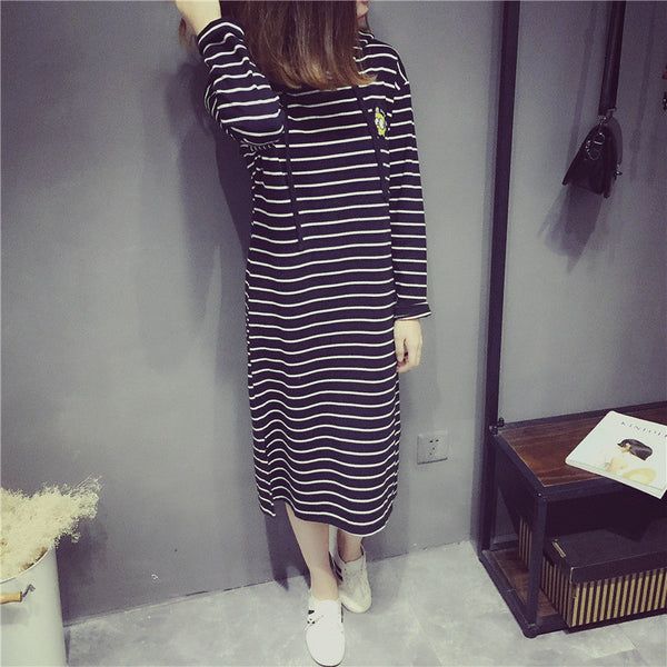 Street fashion long section split-sleeved hoody dress - AddOneClothing - 9
