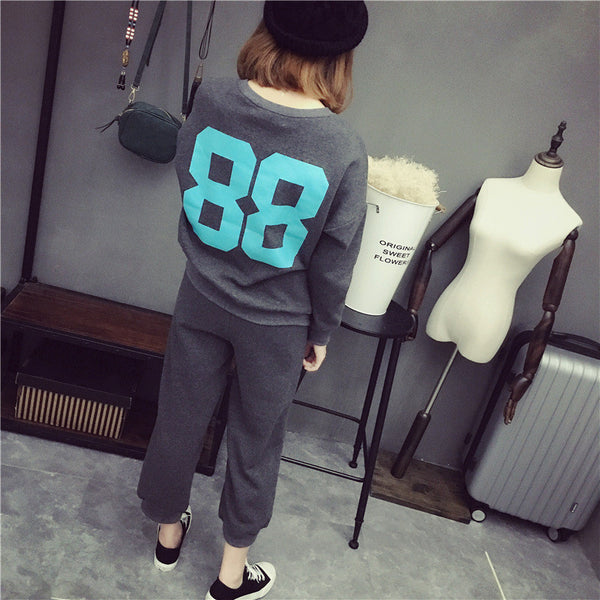 Street fashion letters printed two-piece sports - AddOneClothing - 1