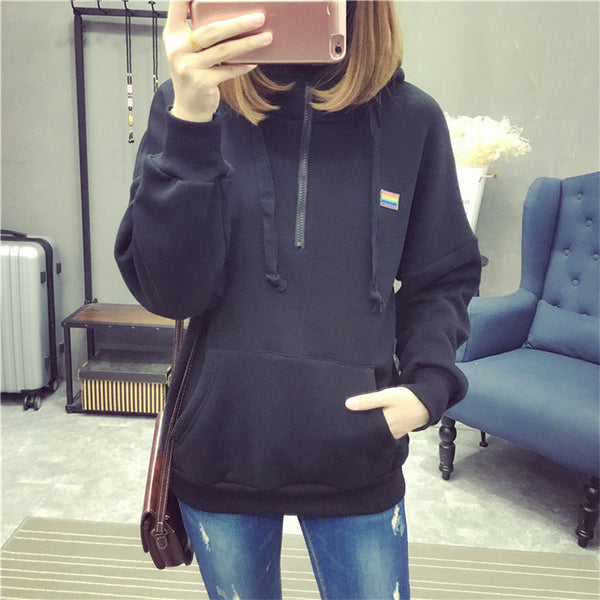 Street fashion collar zipper imprint chest standard hoody - AddOneClothing - 2