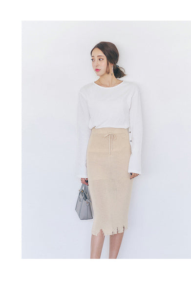 Korean fashion knitting high waist skirt - AddOneClothing - 5