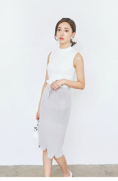 Korean fashion knitting high waist skirt - AddOneClothing - 2