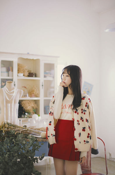 Asian Fashion - Cute cherry wool outwear - AddOneClothing