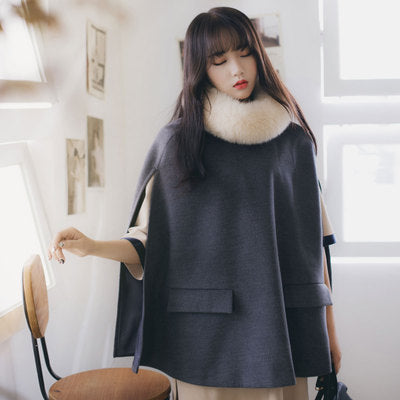 Asian fashion - fur lapel wool cloak - AddOneClothing