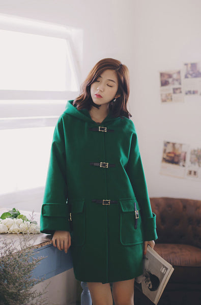 Korean fashion(&Japanese) hood belt buckle woolen coat - AddOneClothing