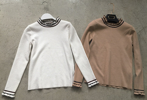 Korean fashion(&Japanese) - Long-sleeved Slim knit top - AddOneClothing