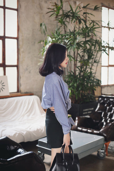 Korean fashion college tied bow striped long-sleeved shirt - AddOneClothing