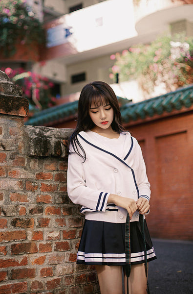 Korean fashion(&Japanese) - Large lapel naval double - breasted kint dress