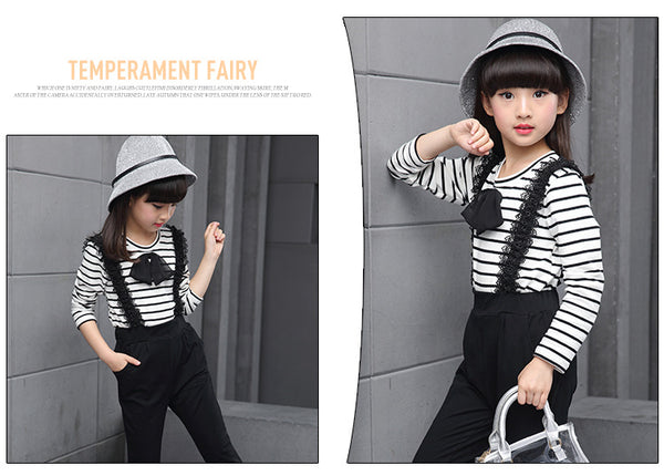 Korean Fashion Kids Long Sleeve Trousers Pants Two sets - AddOneClothing
