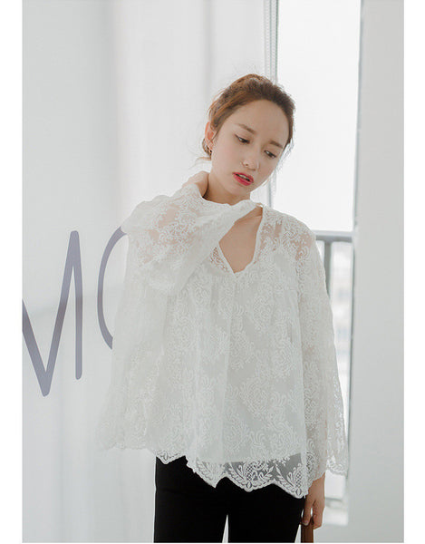 Korean Fashion Blanket lace Two-piece top - AddOneClothing