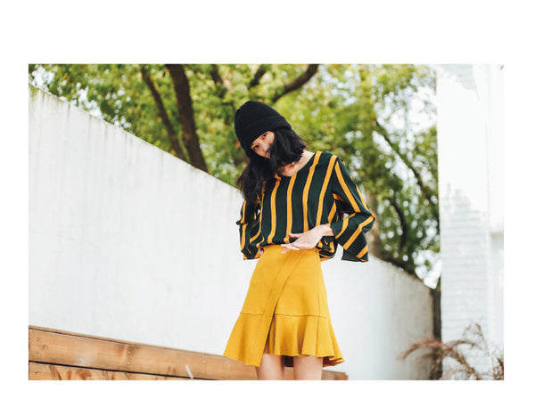 Street Fashion Striped Colored Leaf Sleeve Spring T-Shirt