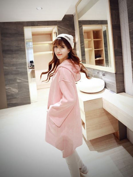 Korean Style - Pink hooded long top - AddOneClothing - 3