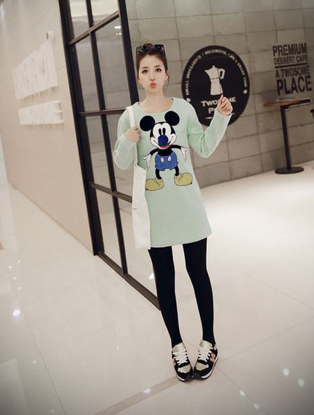 Korean Style - Mickey big nose woolen dress - AddOneClothing - 1