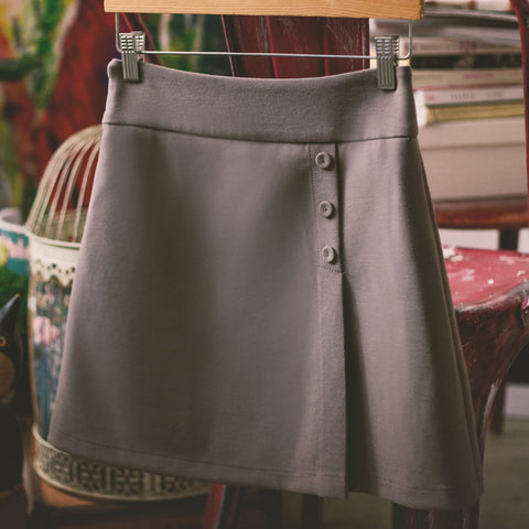 Korean fashion(&Japanese) Simple A word Button skirt - AddOneClothing