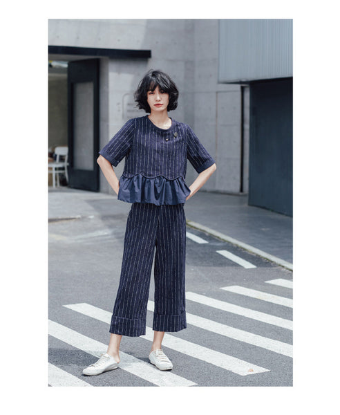 Street Fashion Vertical striped pin crimping suit