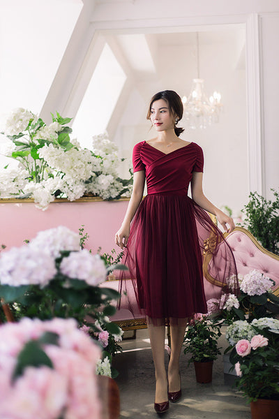 Korean fashion(&Japanese) Slim V-neck Stitching Net yarn Long dress - AddOneClothing