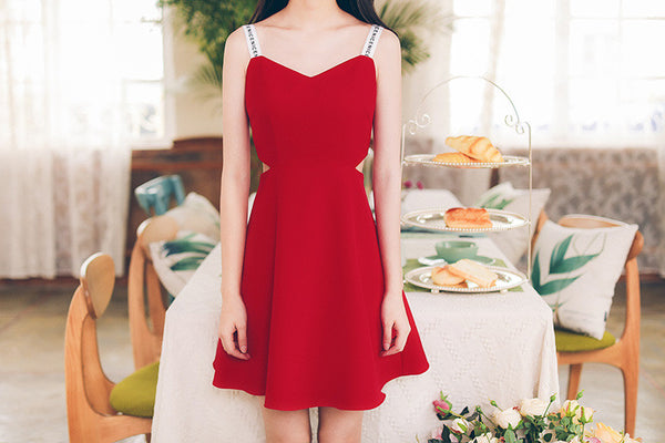 Korean fashion(&Japanese) Letter belt harness V collar A word dress - AddOneClothing